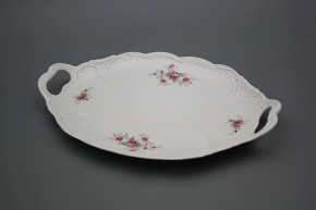 Oval dish 29cm with holders Opera Pink roses BB
