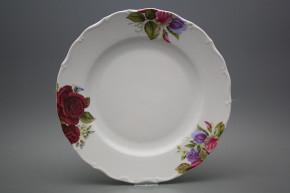 Flat round dish 31cm Verona Burgundy rose CBB