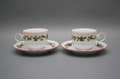 Tea cup 0,18l with saucer Ofelia Christmas holly CL č.1
