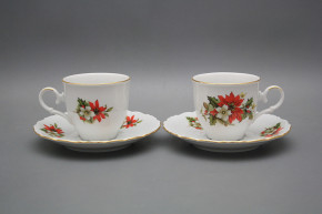Coffee cup 0,18l and saucer Ofelia Poinsettia GL