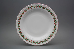 Flat round dish 31cm Verona Christmas holly KCL