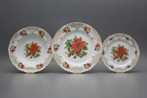 Plate set Ofelia Poinsettia 18-piece FGL Lux