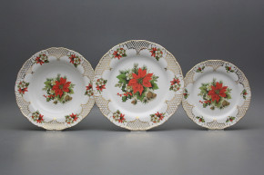 Plate set Ofelia Poinsettia 24-piece FGL Lux
