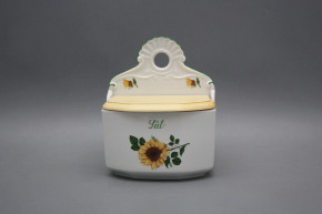 Wall box for salt with wooden cover Sunflowers ZL
