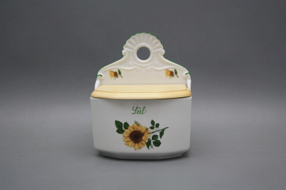 Wall box for salt with wooden cover Sunflowers ZL č.1