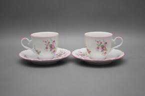Coffee cup 0,18l and saucer Ofelia Pink roses RL