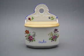 Wall box for sugar with wooden cover Meissen bouquet AL