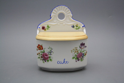Wall box for sugar with wooden cover Meissen bouquet AL č.1