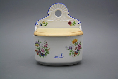 Wall box for salt with wooden cover Meissen bouquet AL č.1