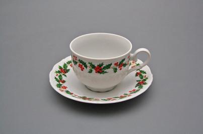 Tea cup 0,18l with saucer Ofelia Christmas holly BB č.1