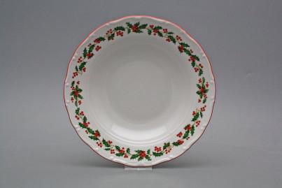 Deep plate 23cm Ofelia Christmas holly CL č.1