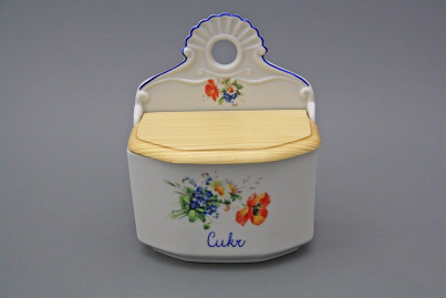 Wall box for sugar with wooden cover Field flowers AL č.1