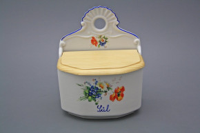 Wall box for salt with wooden cover Field flowers AL