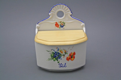 Wall box for salt with wooden cover Field flowers AL č.1