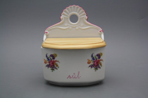 Wall box for salt with wooden cover Bouquet with irisies RL