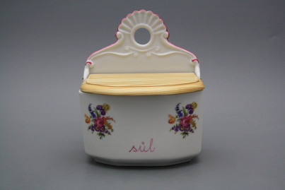 Wall box for salt with wooden cover Bouquet with irisies RL č.1
