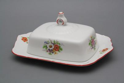 Butter dish square Ofelia Meissen bouquet CL č.1