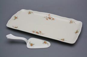 Tray square 33cm with cake shovel Rokoko ECRU Tea roses BB