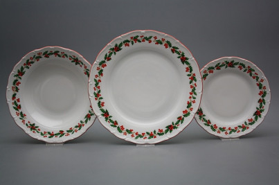 Plate set Ofelia Christmas holly 18-piece KCL č.1