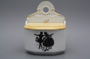Wall box for salt with wooden cover Rococo dolls GL