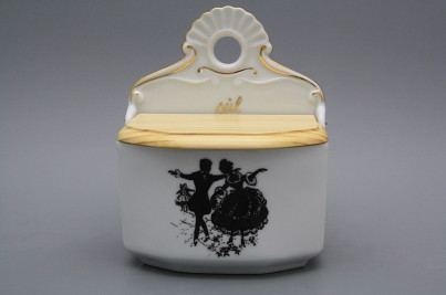 Wall box for salt with wooden cover Rococo dolls GL č.1