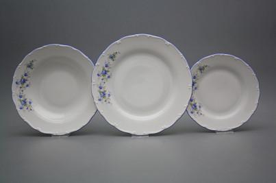 Plate set Ofelia Light blue roses 18-piece HAL č.1
