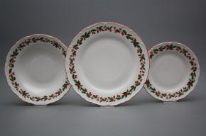 Plate set Ofelia Christmas holly 12-piece CL