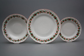 Plate set Ofelia Christmas holly 24-piece CL