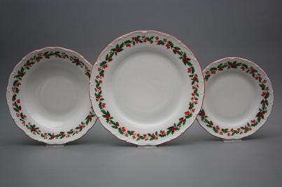 Plate set Ofelia Christmas holly 24-piece CL č.1