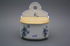 Wall box for salt with wooden cover Cornflowers AL