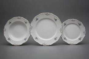 Plate set Marie Louise Light blue roses 18-piece EGL LUX